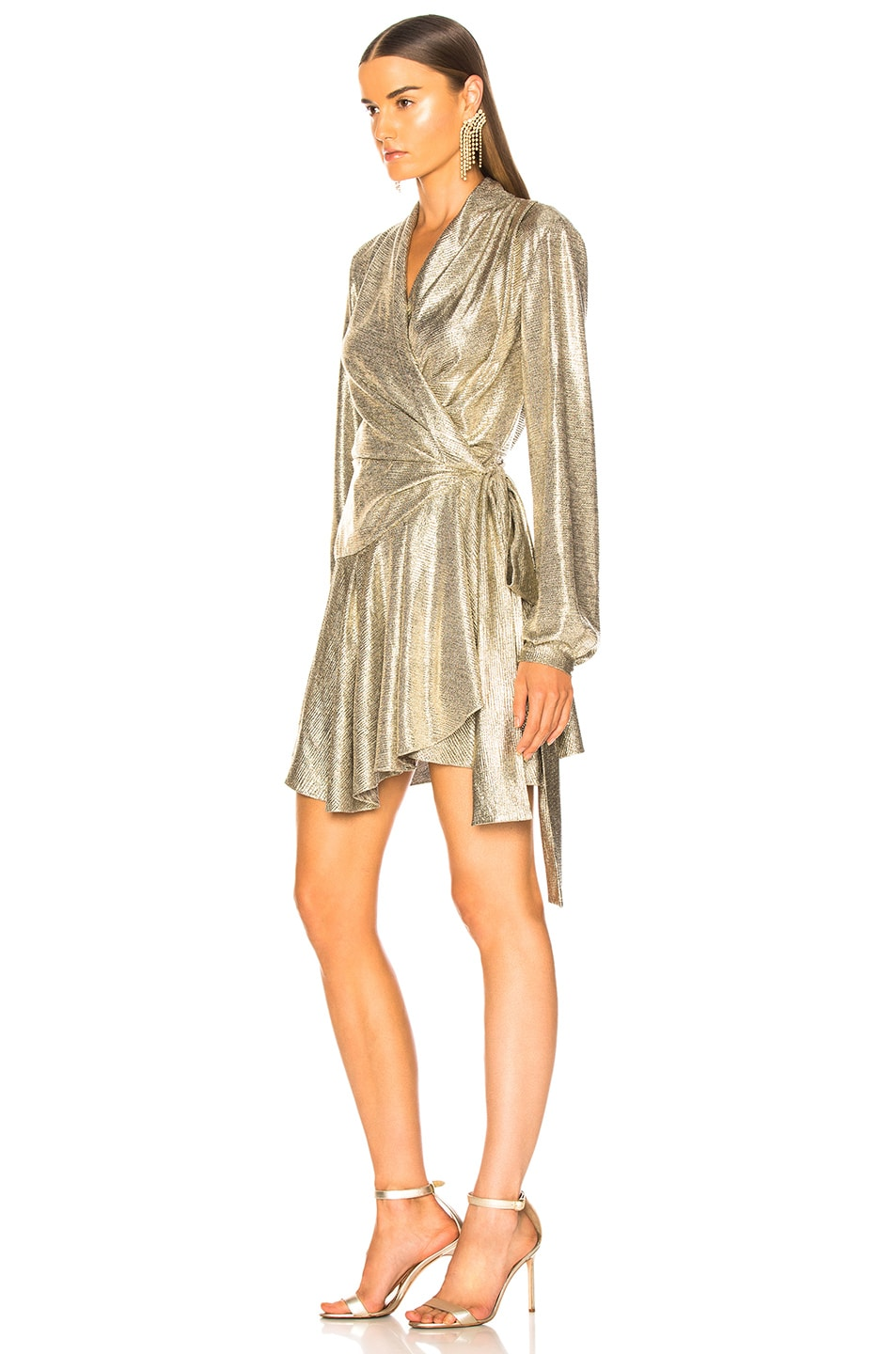 Image 3 of PatBo Cara Lame Mini Wrap Dress in Platino
