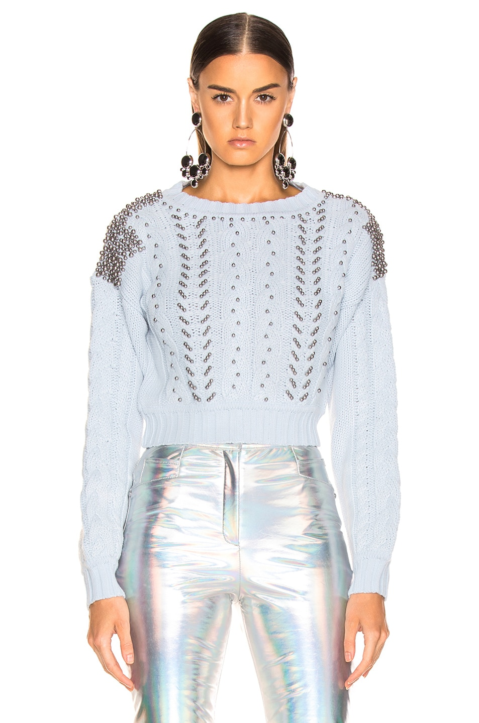 Patbo Studded Cropped Sweater In Light Blue Fwrd
