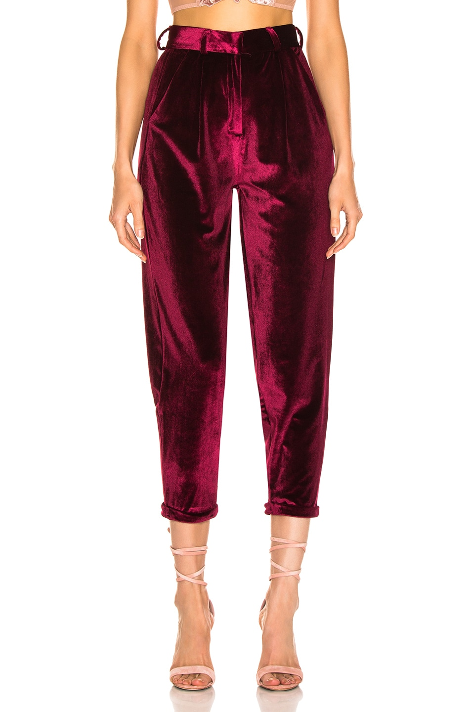 Image 1 of PatBo Velvet Slim Trouser in Port