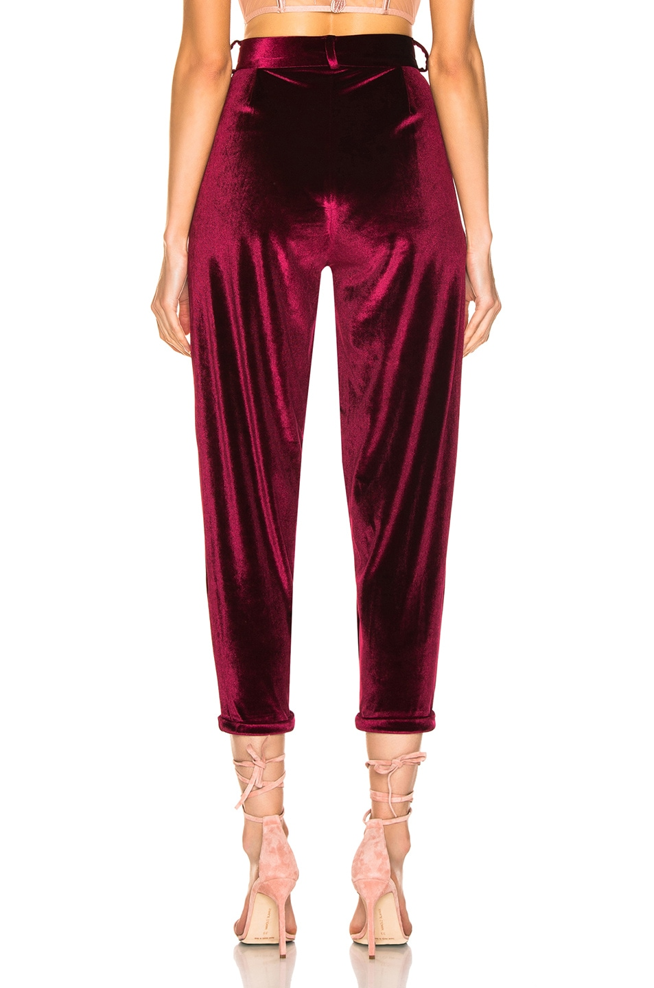 Image 3 of PatBo Velvet Slim Trouser in Port
