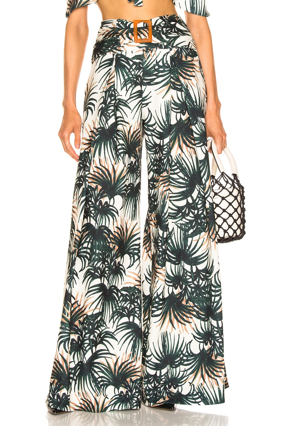 Image 1 of PatBo Palm Print Belted Wide Leg Pant in Ivory & Green