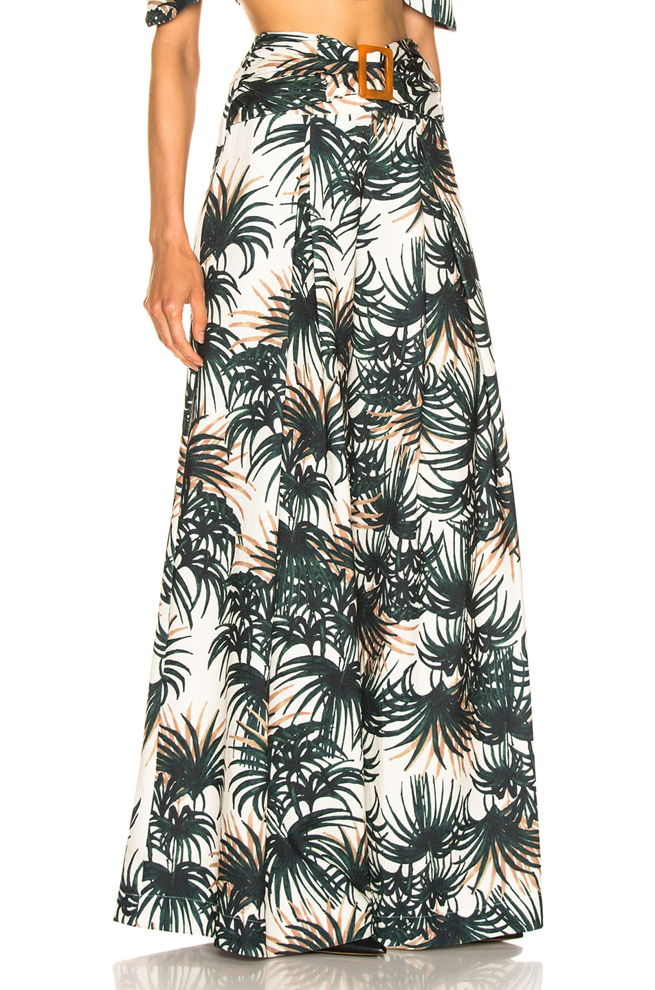 Image 2 of PatBo Palm Print Belted Wide Leg Pant in Ivory & Green