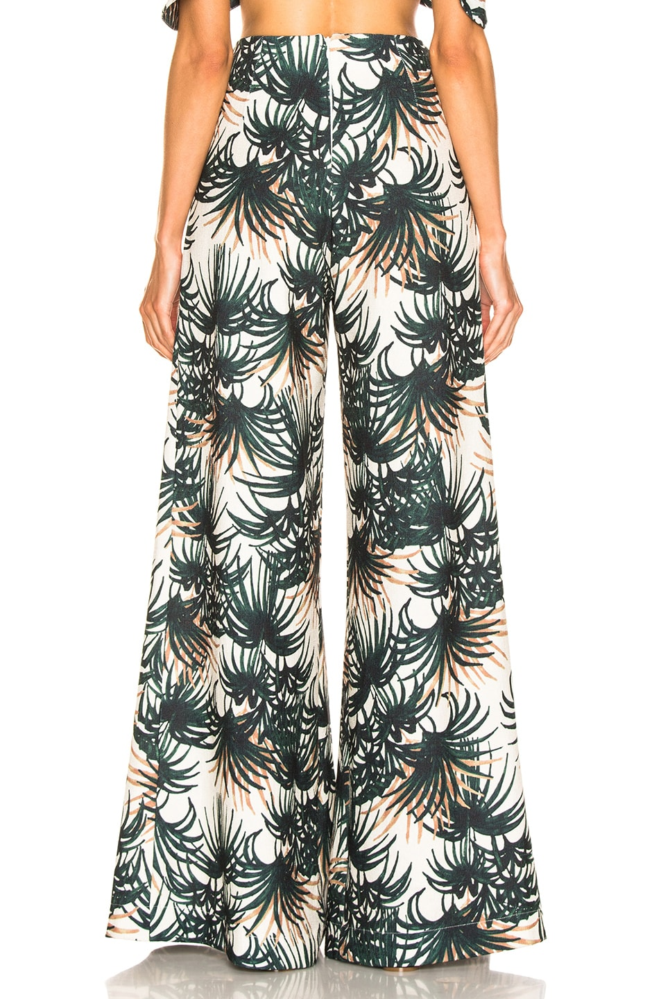Image 3 of PatBo Palm Print Belted Wide Leg Pant in Ivory & Green