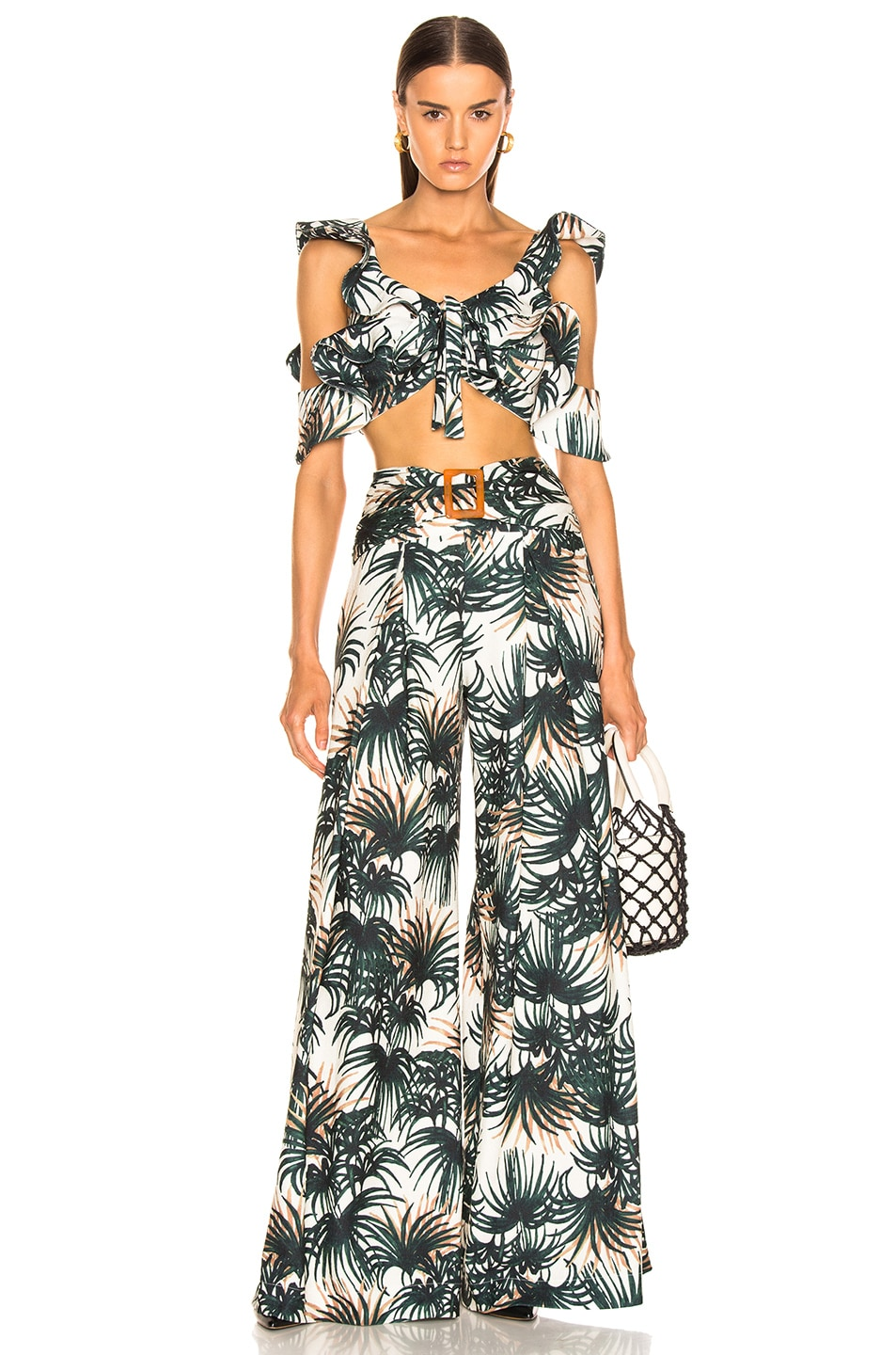 Image 4 of PatBo Palm Print Belted Wide Leg Pant in Ivory & Green