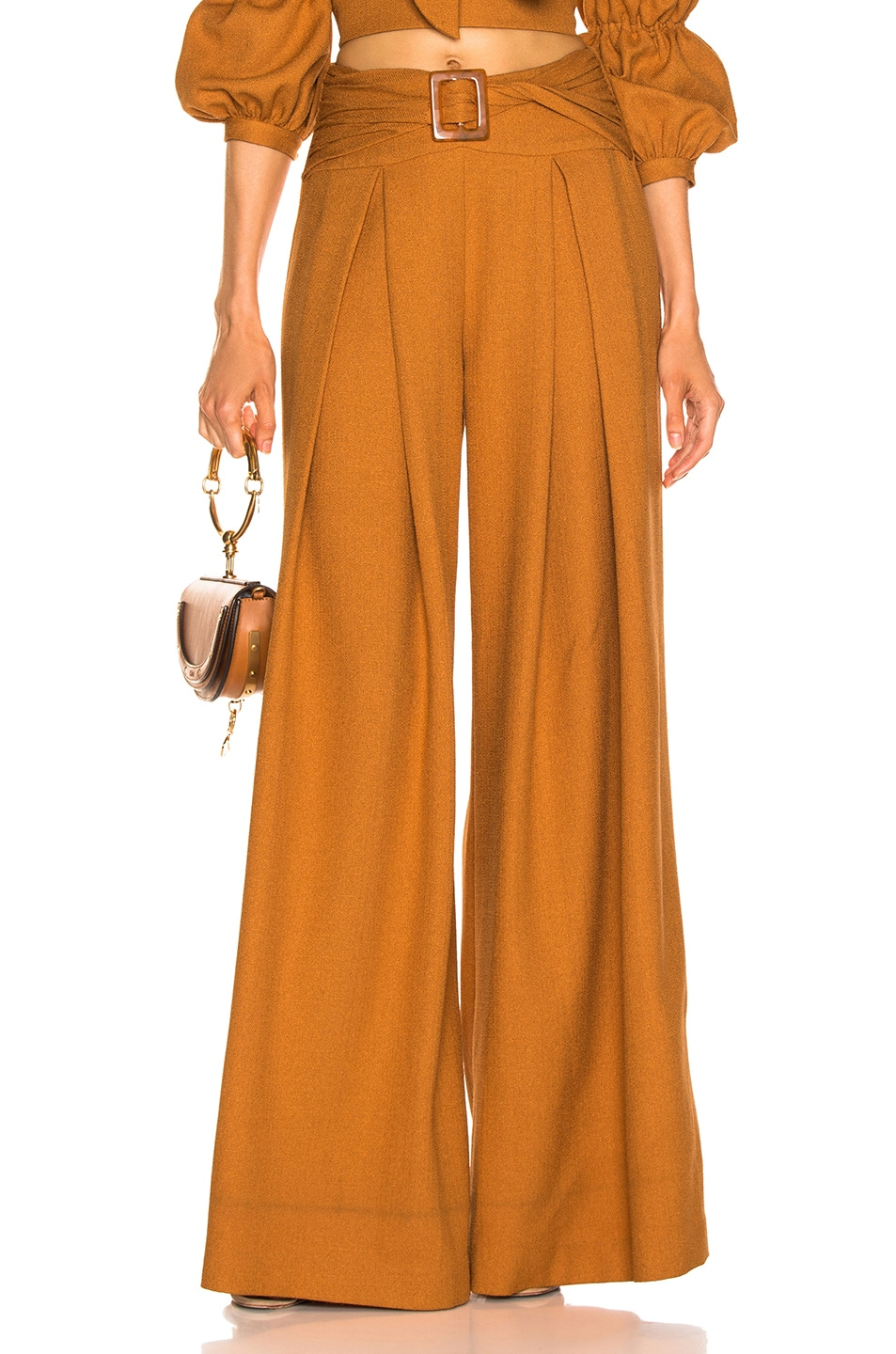 Image 1 of PatBo Belted Wide Leg Pant in Mustard