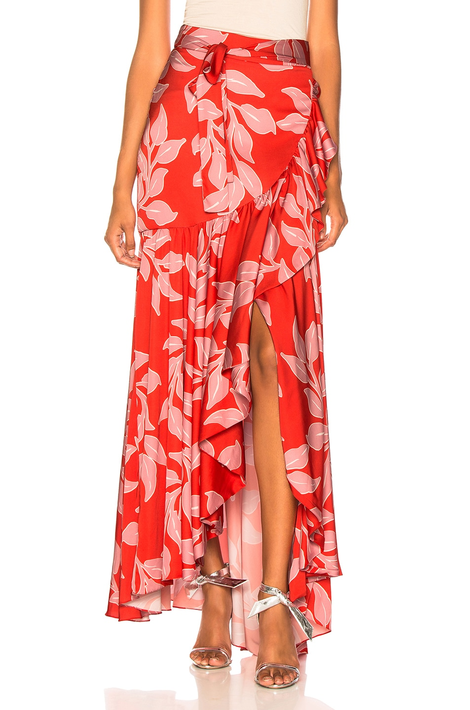 Image 1 of PatBo Leaf Print Wrap Skirt in Hot Pink
