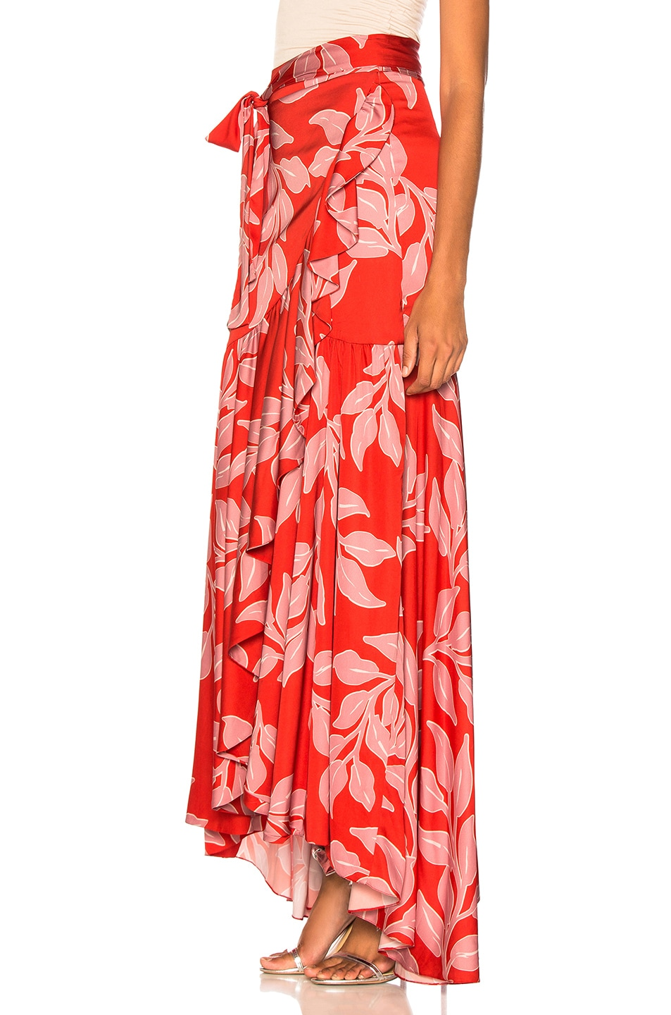 Image 3 of PatBo Leaf Print Wrap Skirt in Hot Pink