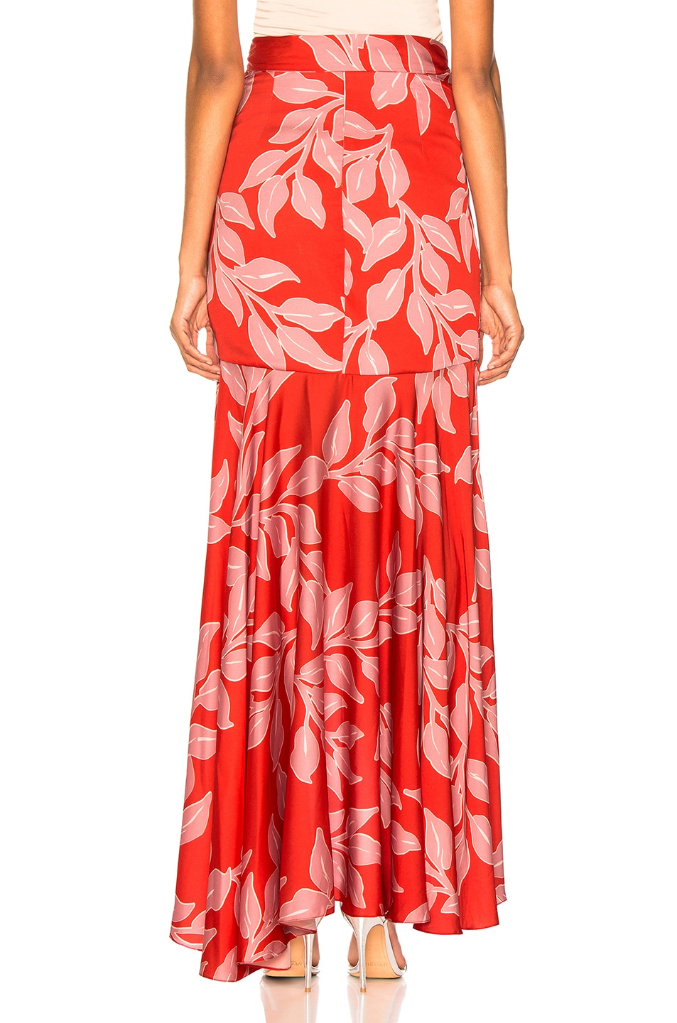 Image 4 of PatBo Leaf Print Wrap Skirt in Hot Pink