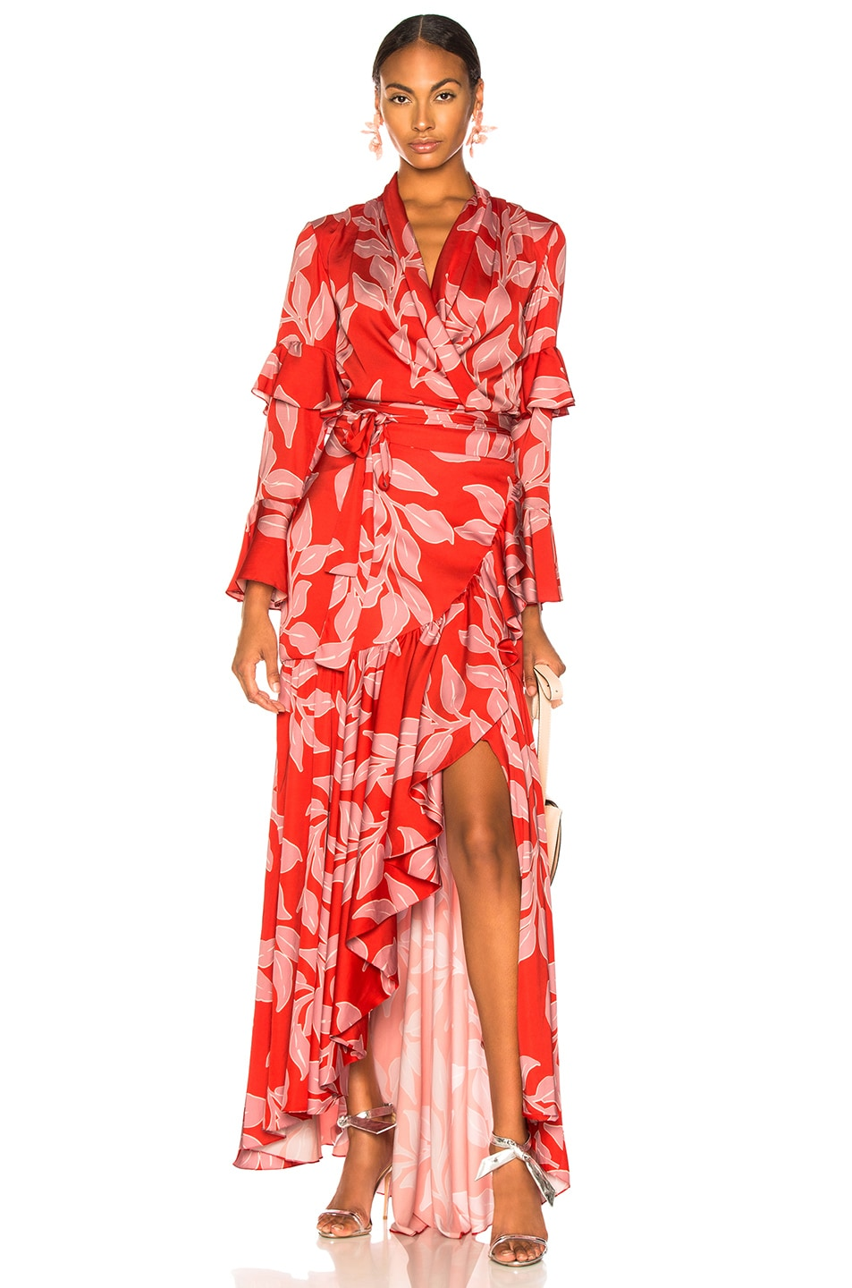 Image 5 of PatBo Leaf Print Wrap Skirt in Hot Pink
