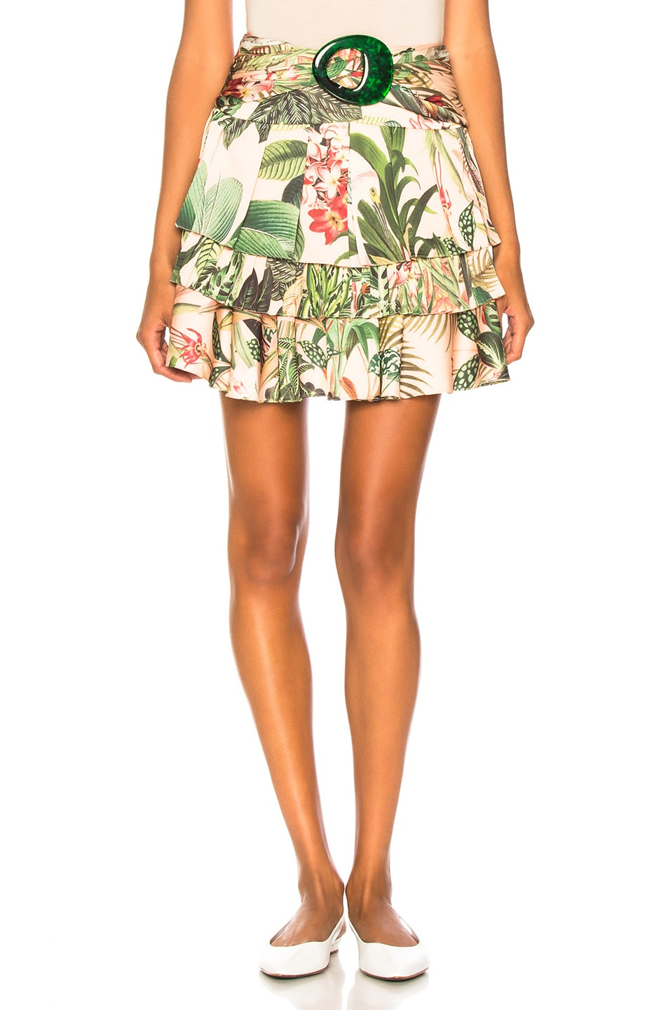Image 1 of PatBo Paradise Print Ruffle Mini Skirt in Pink
