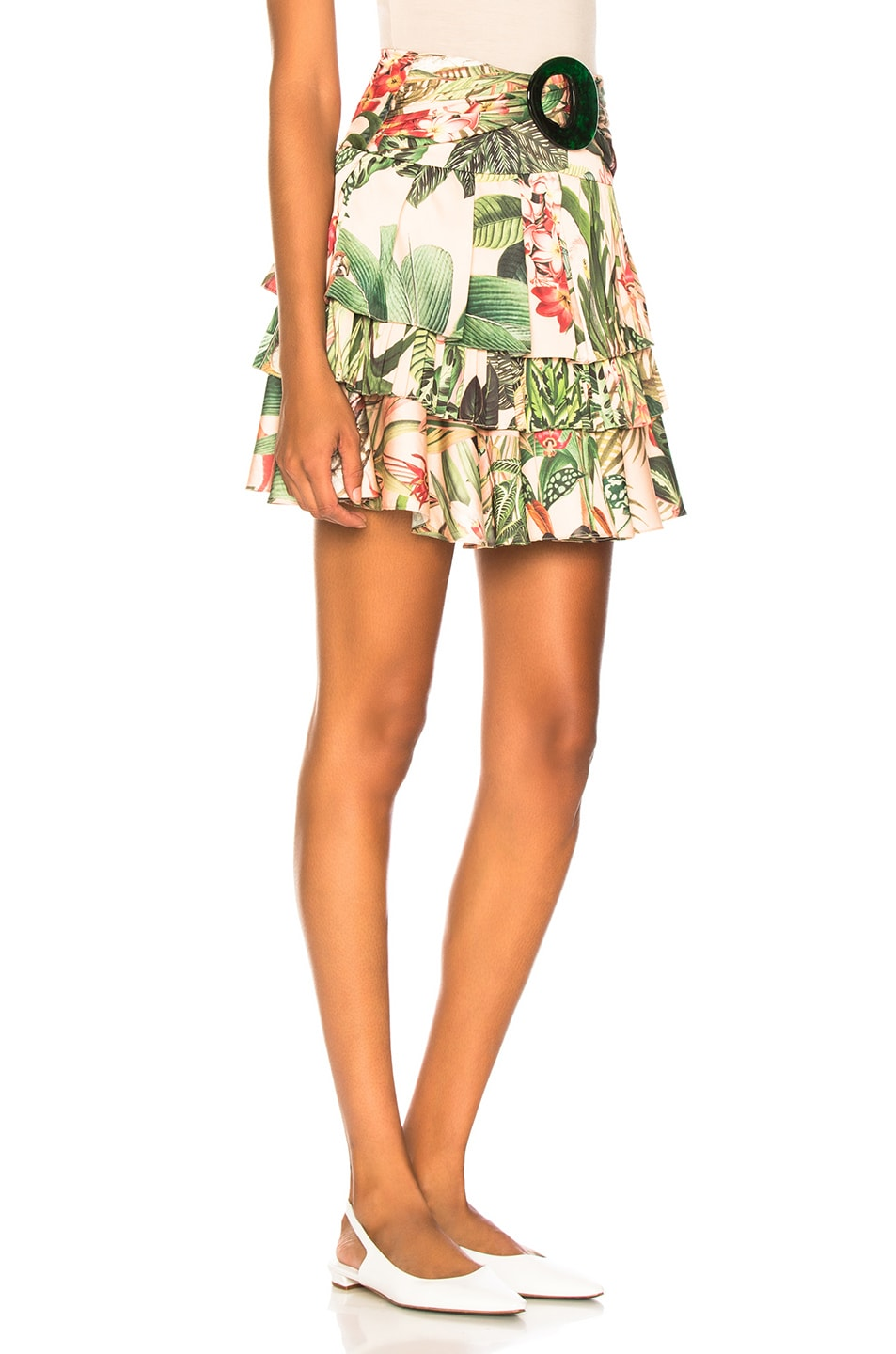 Image 2 of PatBo Paradise Print Ruffle Mini Skirt in Pink