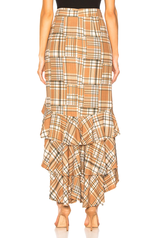 Image 3 of PatBo Plaid Ruffle Midi Skirt in Tan Multi