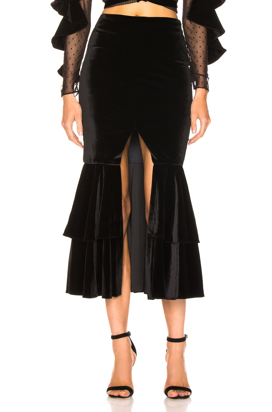 Image 1 of PatBo Velvet Bo Ruffle Midi Skirt in Black