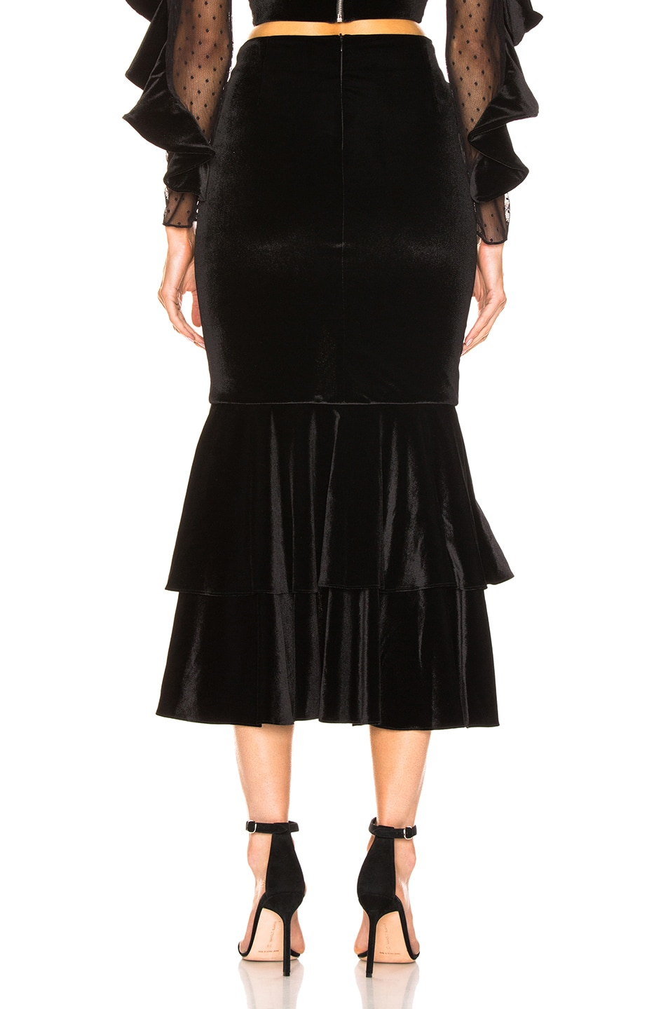 Image 3 of PatBo Velvet Bo Ruffle Midi Skirt in Black