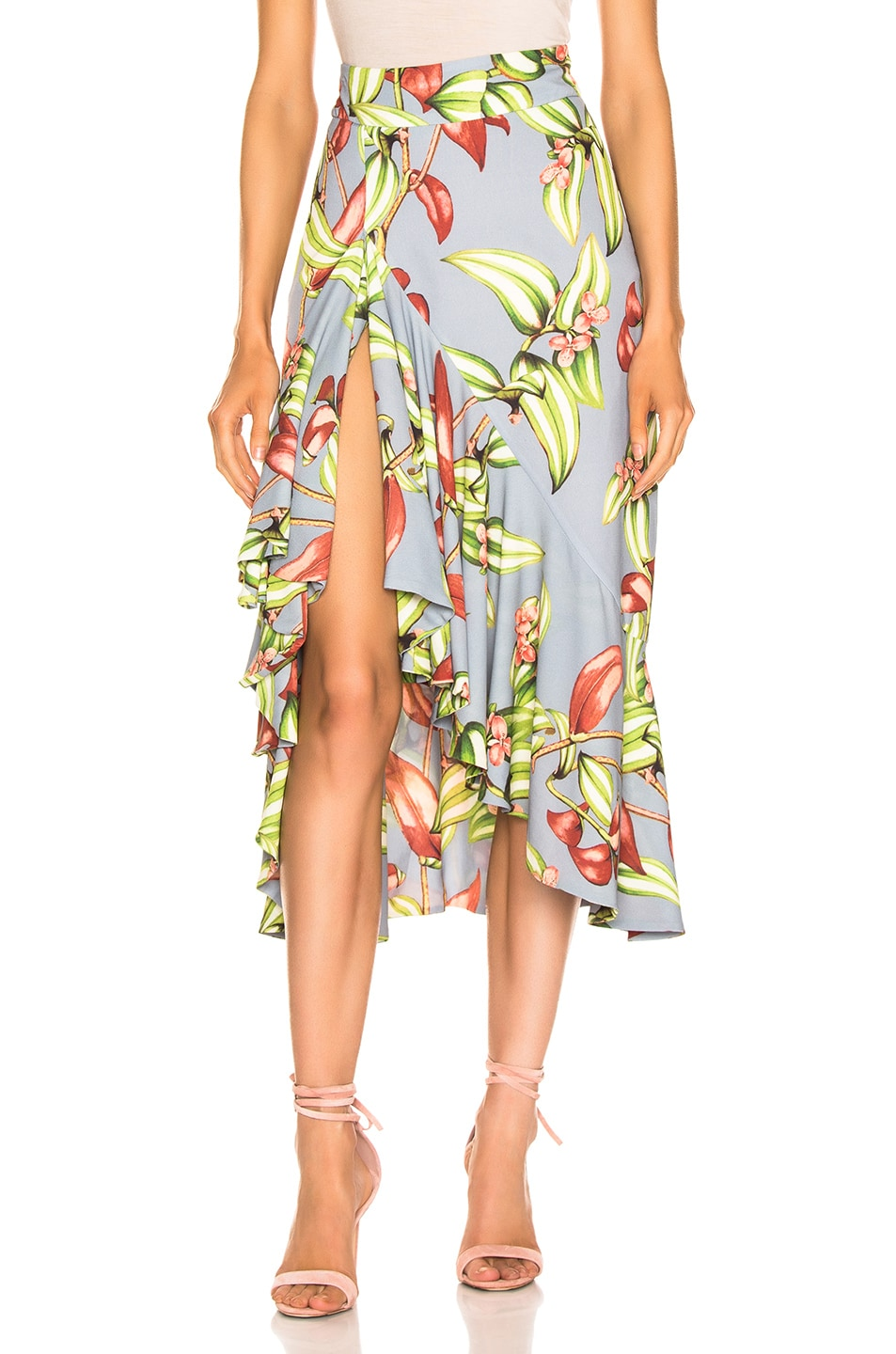 Image 1 of PatBO Zebrina Print Ruffle Midi Skirt in Blue