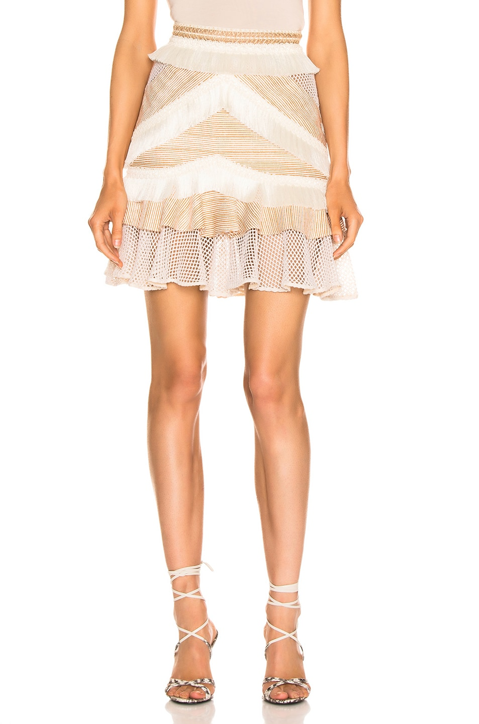 Image 1 of PatBO Mesh & Fringe Tiered Mini Skirt in Wheat