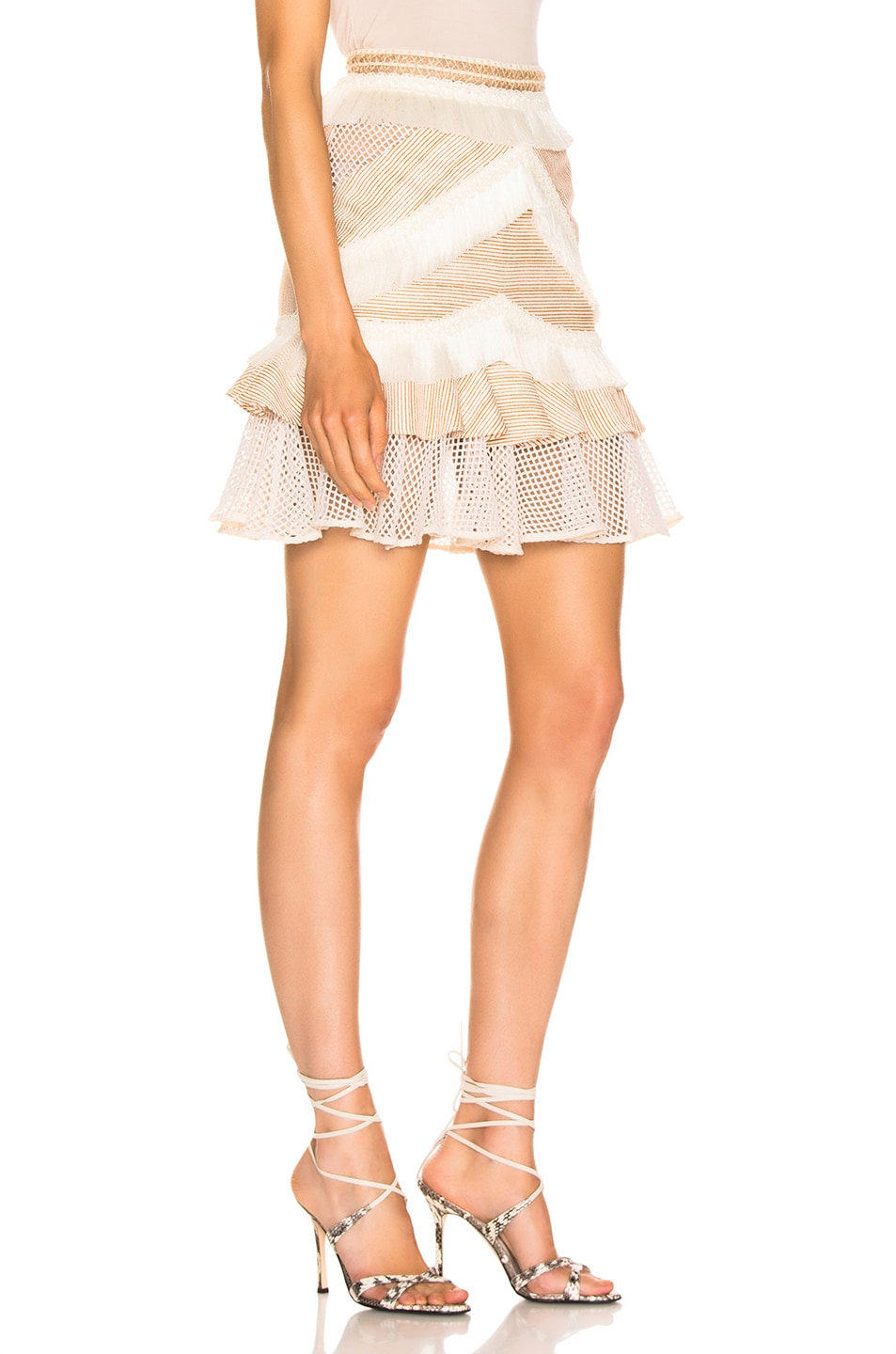 Image 2 of PatBO Mesh & Fringe Tiered Mini Skirt in Wheat