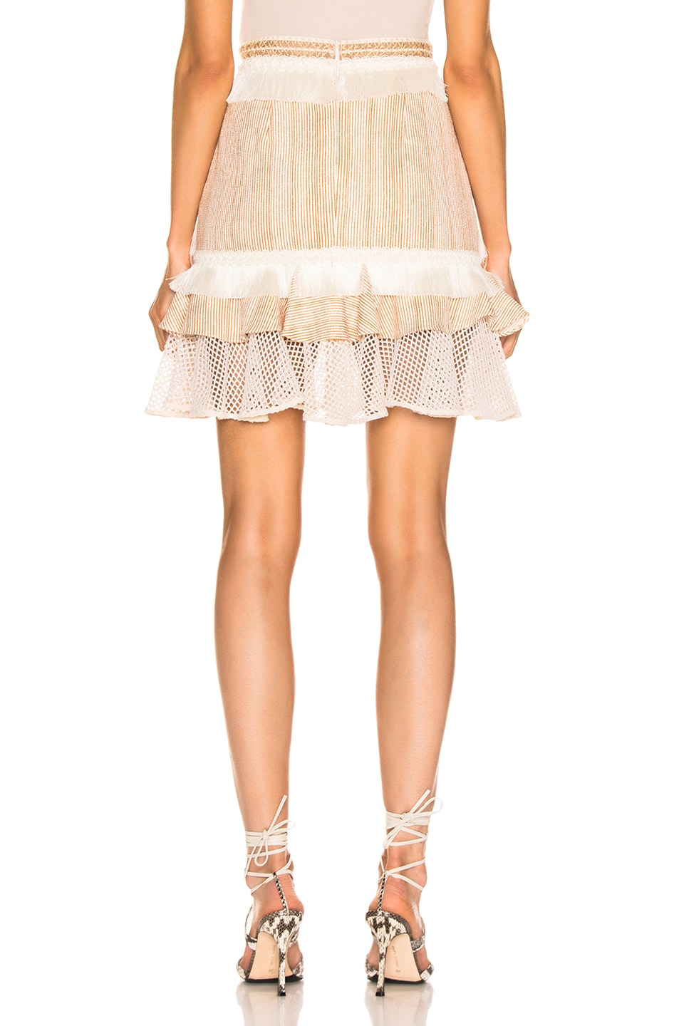 Image 3 of PatBO Mesh & Fringe Tiered Mini Skirt in Wheat