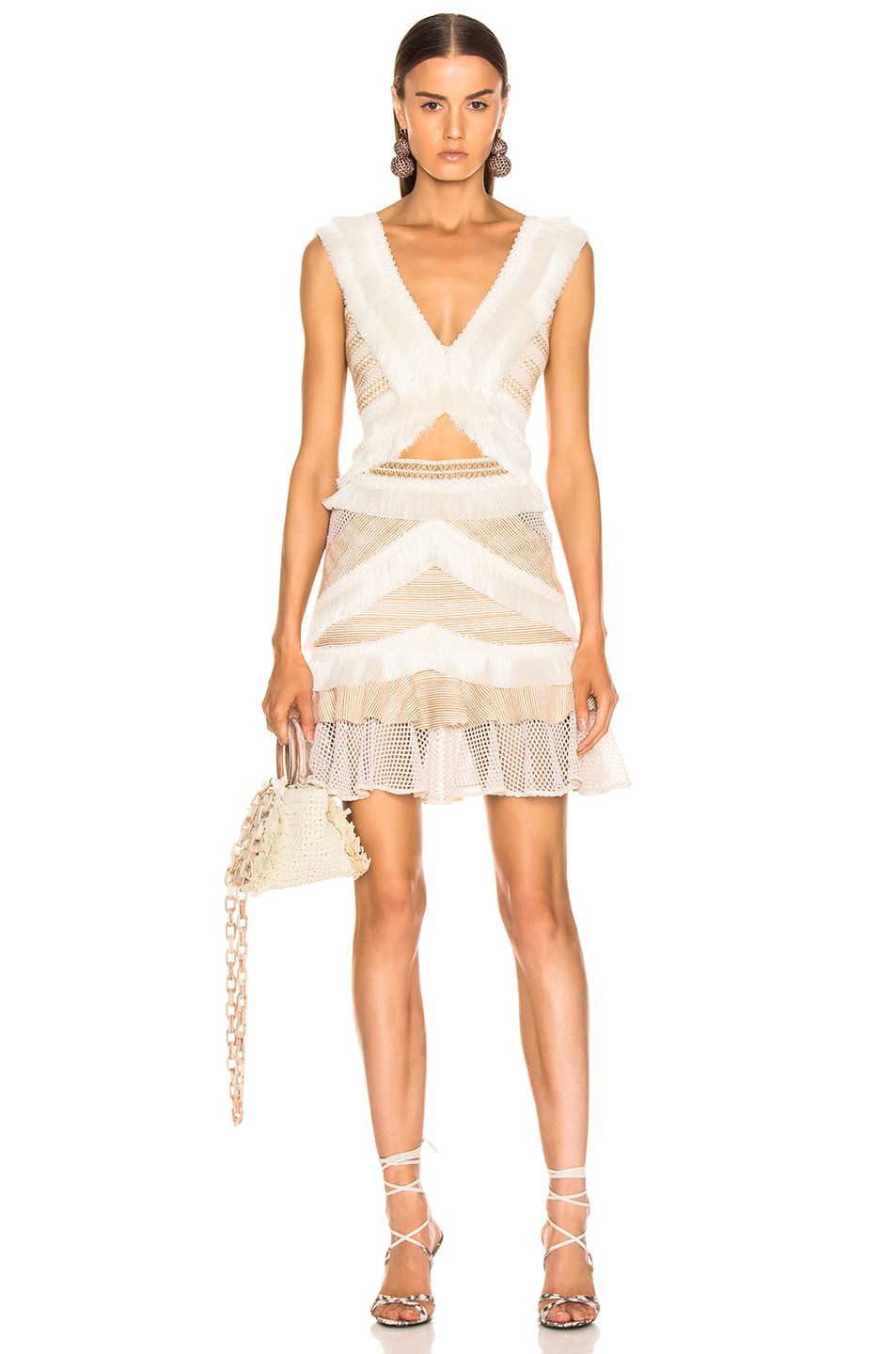 Image 4 of PatBO Mesh & Fringe Tiered Mini Skirt in Wheat