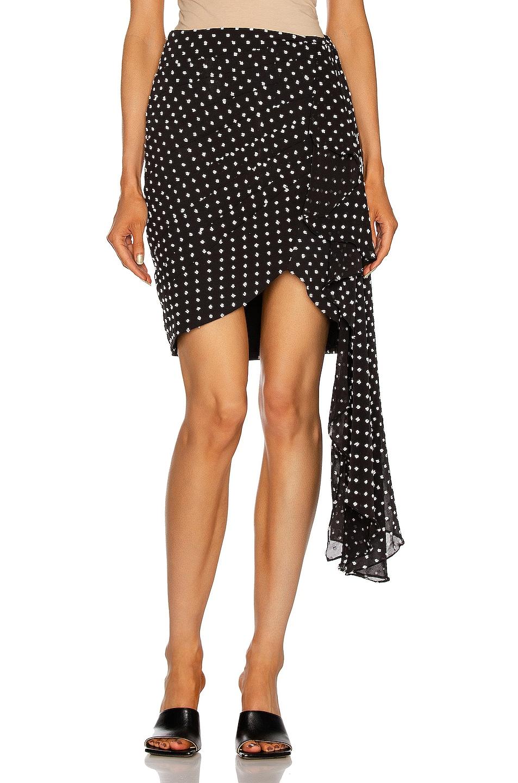 Image 1 of PatBO Polka Dot Drape Mini Skirt in Black & White