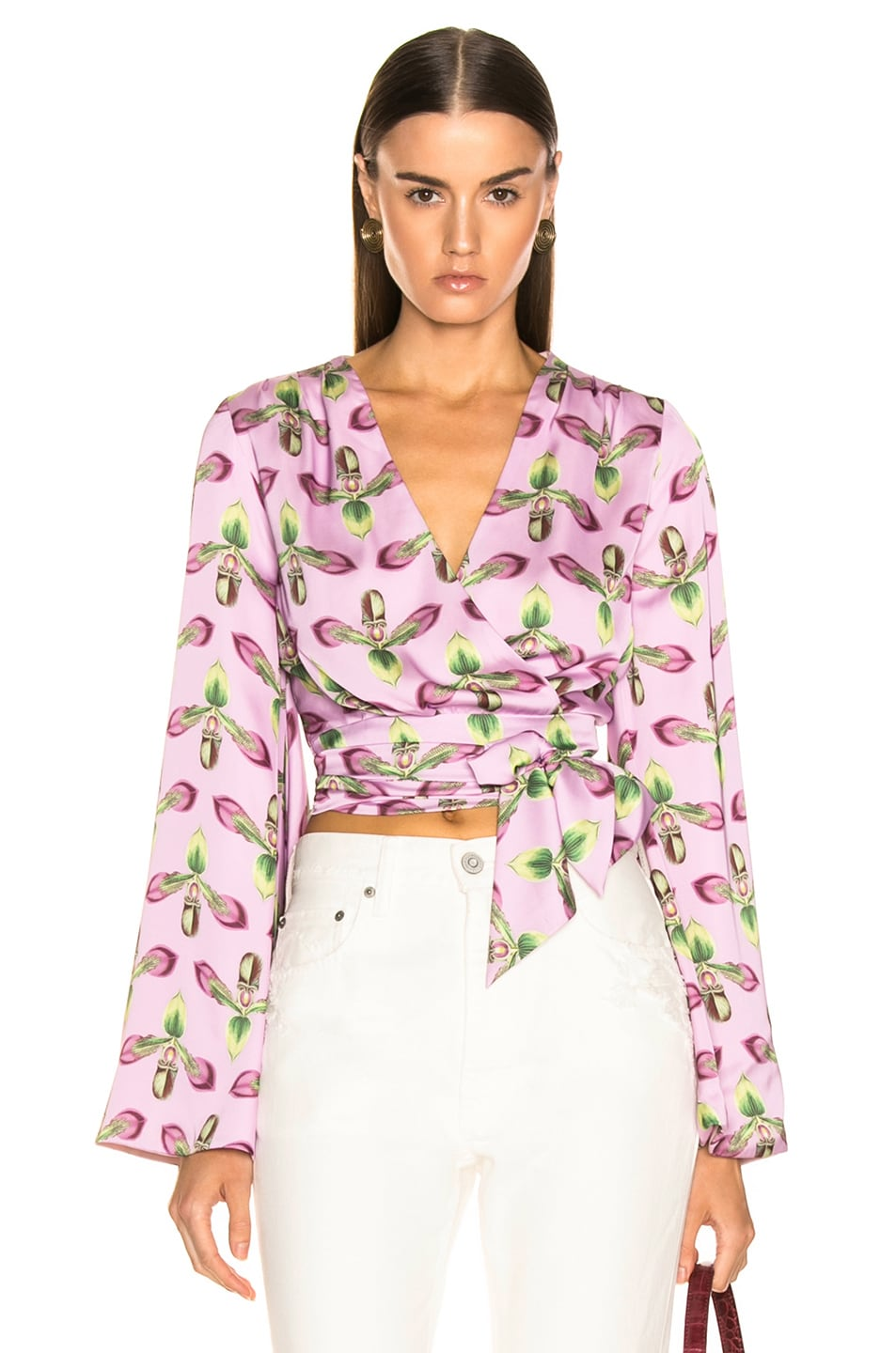Image 1 of PatBo Kimono Sleeve Wrap Top in Bright Lilac