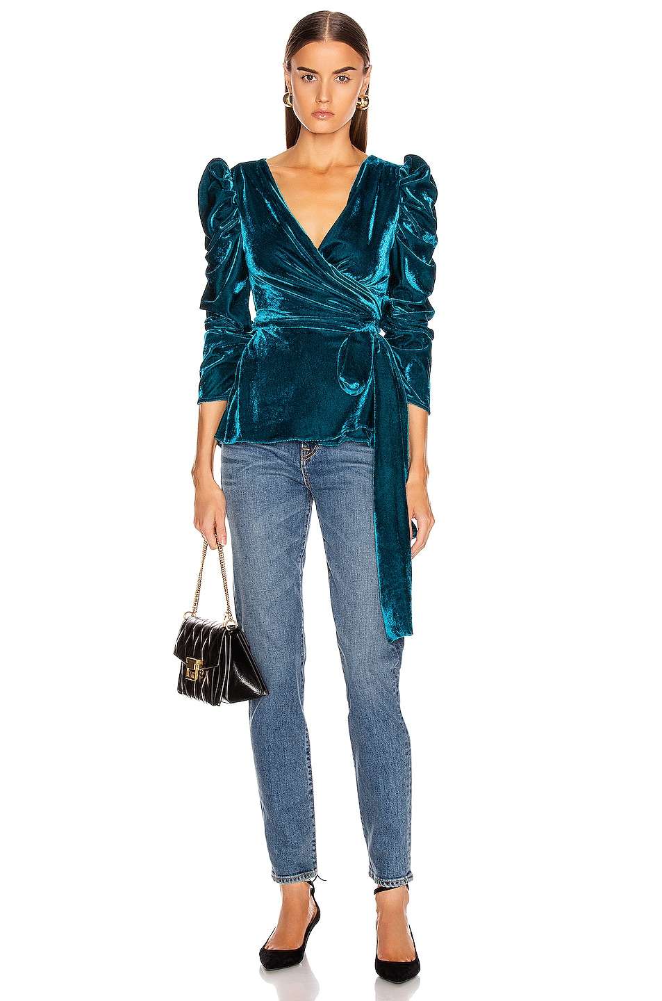 Image 1 of PatBo Velvet Puff Sleeve Wrap Top in Azure