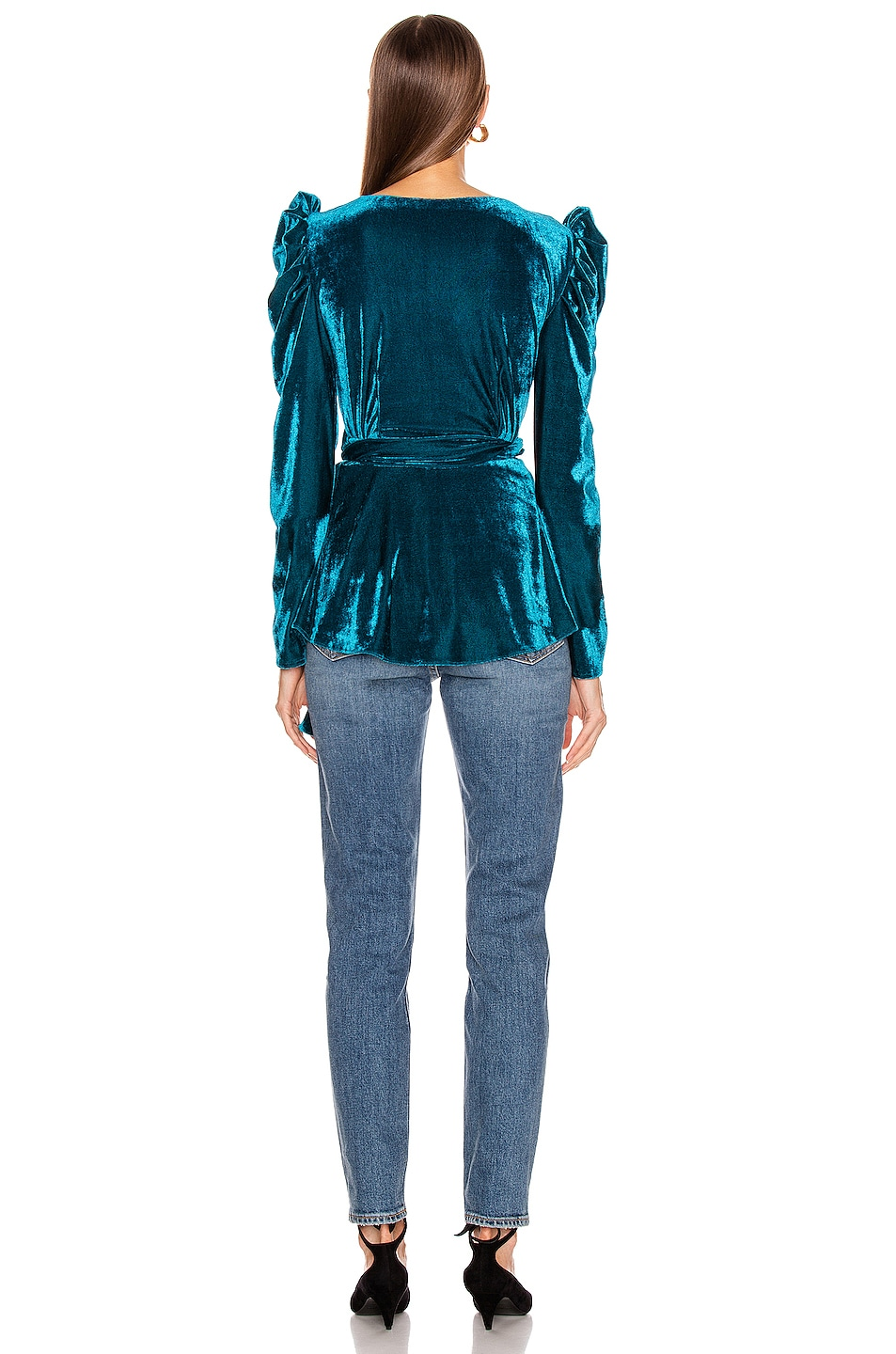 Image 3 of PatBo Velvet Puff Sleeve Wrap Top in Azure