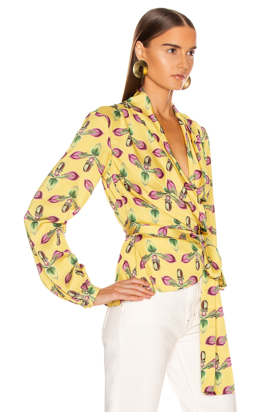 Image 2 of PatBo Floral Print Wrap Top in Bright Yellow