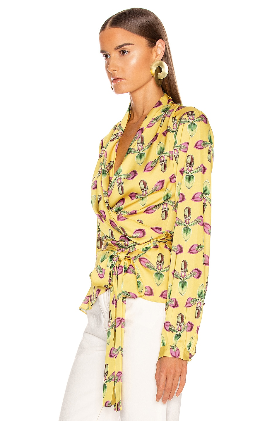 Image 3 of PatBo Floral Print Wrap Top in Bright Yellow