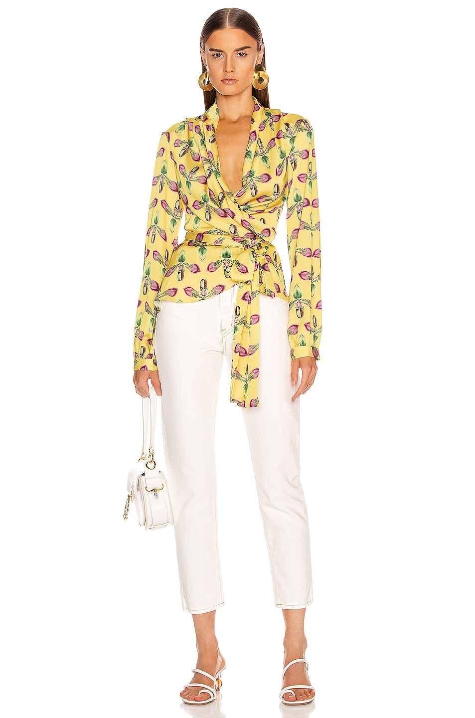 Image 5 of PatBo Floral Print Wrap Top in Bright Yellow