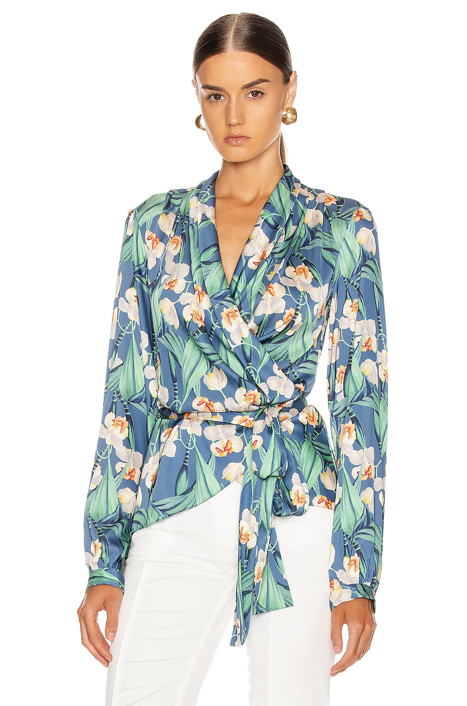 Image 1 of PatBO Floral Print Wrap Top in Blue