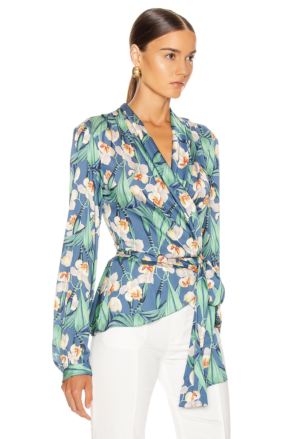 Image 2 of PatBO Floral Print Wrap Top in Blue