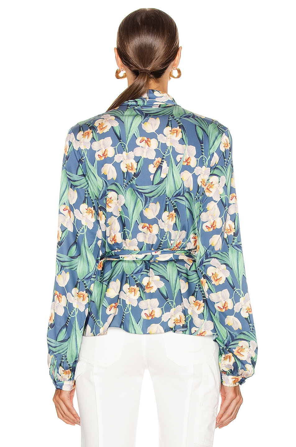 Image 4 of PatBO Floral Print Wrap Top in Blue