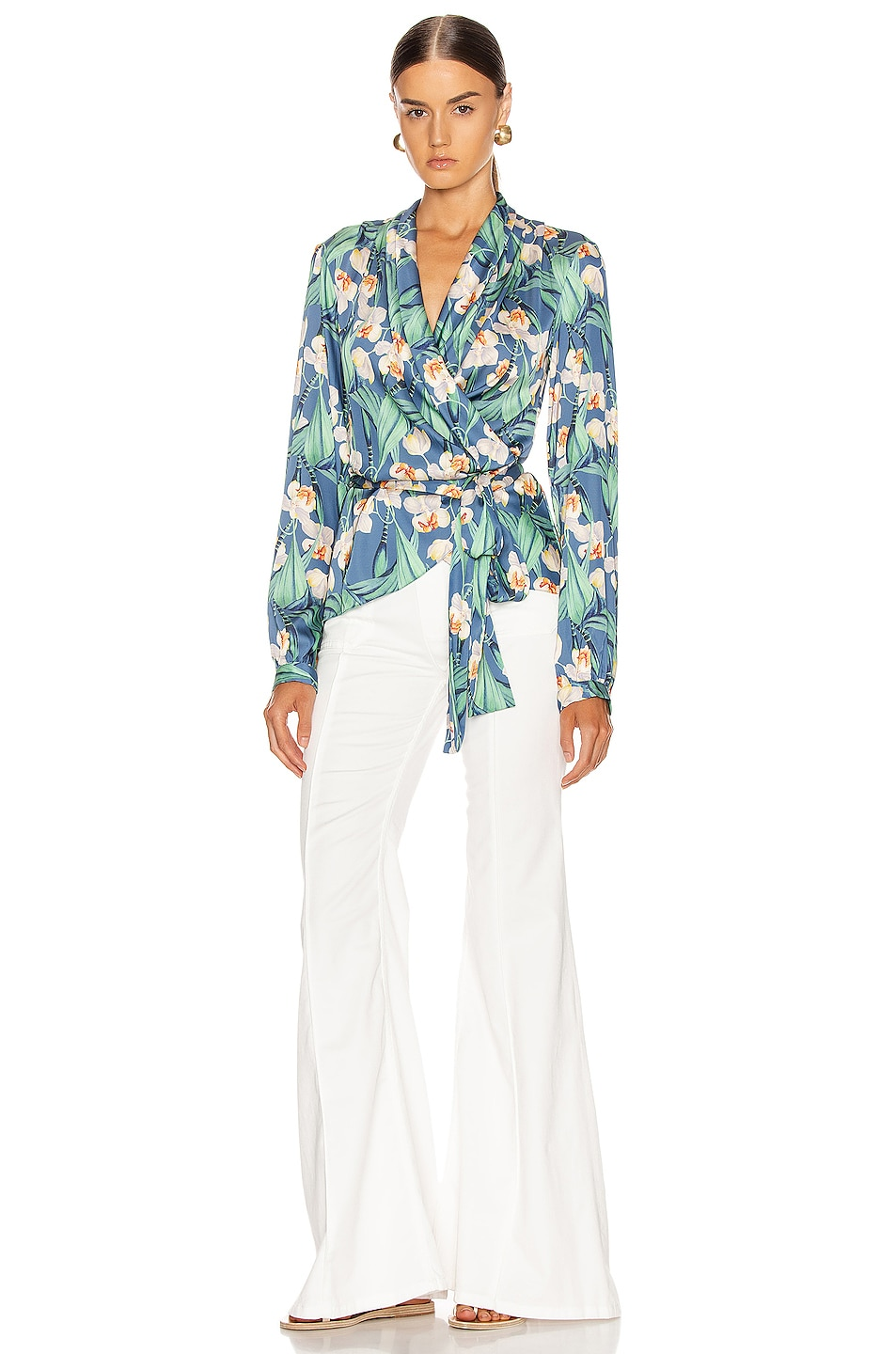 Image 5 of PatBO Floral Print Wrap Top in Blue