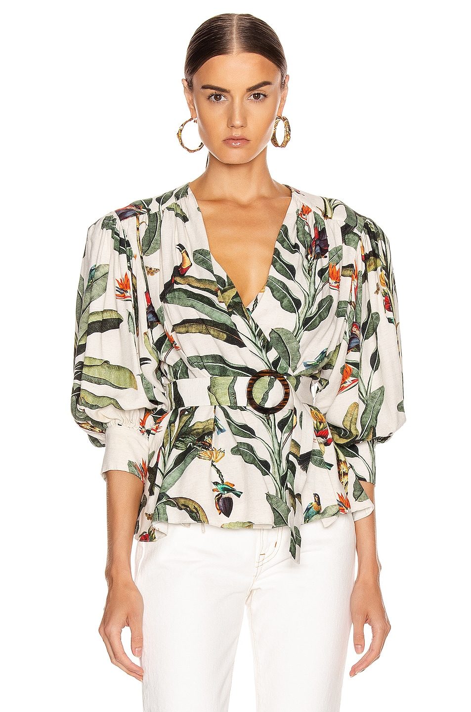 Image 1 of PatBO Tropical Print Belted Top in Off-White