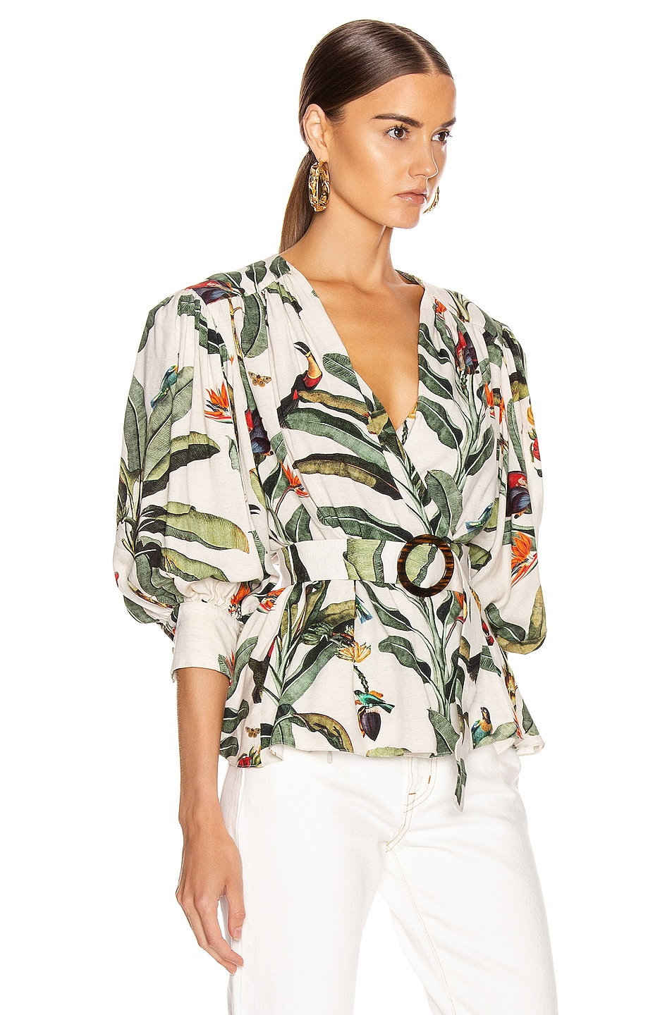 Image 2 of PatBO Tropical Print Belted Top in Off-White
