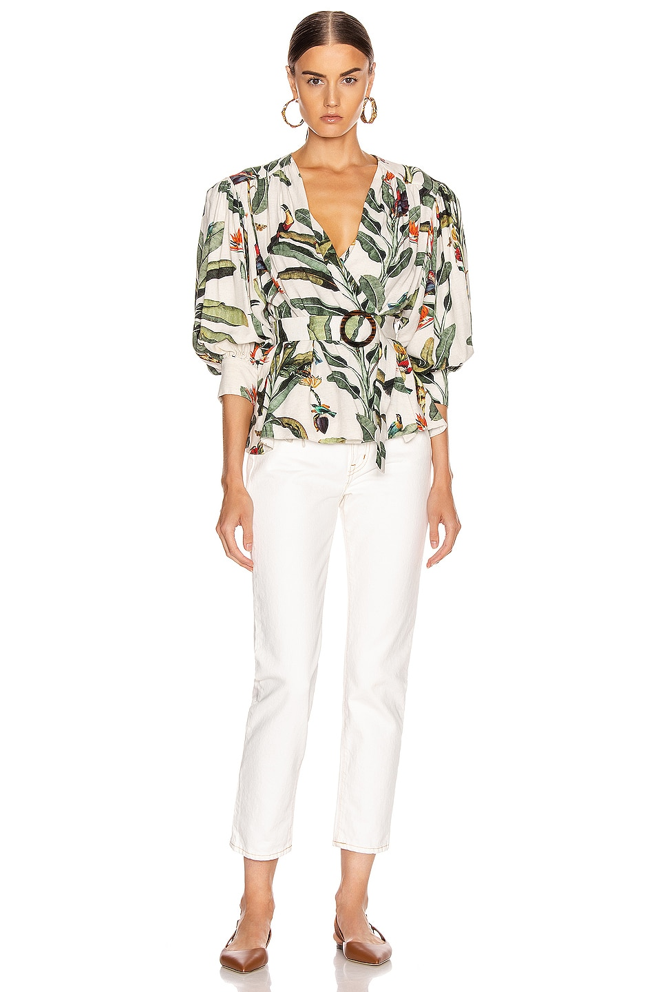Image 4 of PatBO Tropical Print Belted Top in Off-White