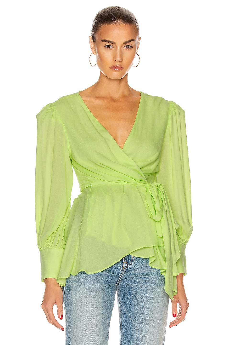Image 1 of PatBO Neon Wrap Top in Lime