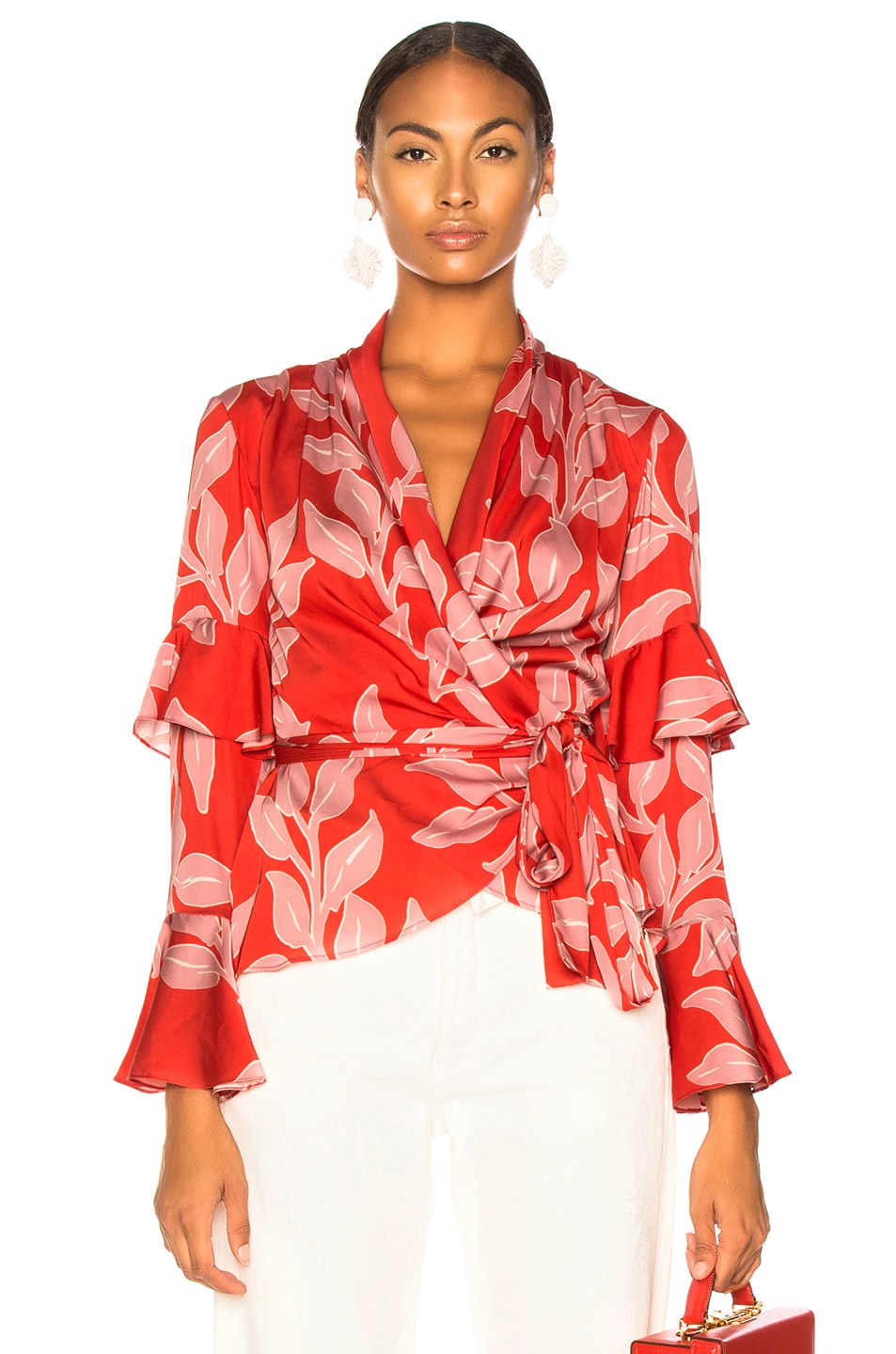 bb96fc64a6c8a1 Image 1 of PatBo Leaf Print Wrap Top in Hot Pink