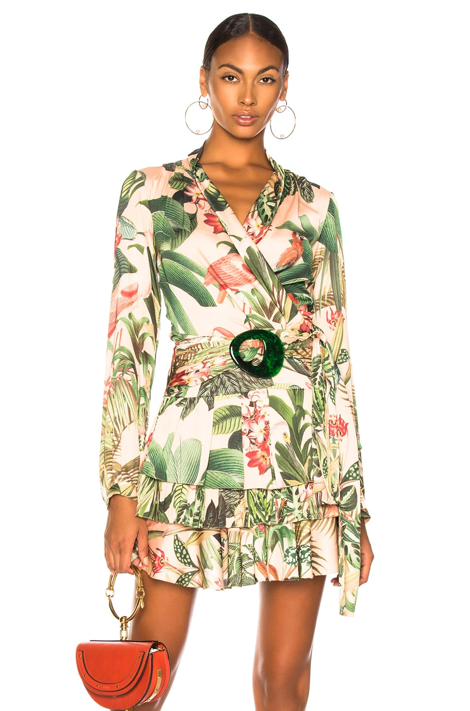 Image 1 of PatBo Paradise Print Wrap Top in Pink