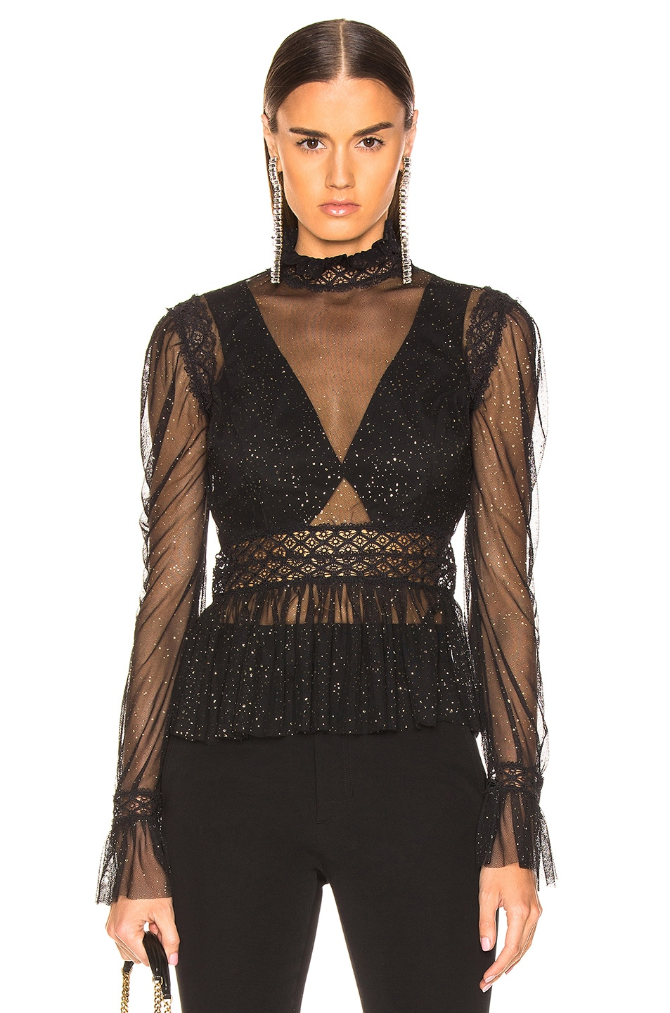 Image 1 of PatBo Night Sheer Mock Neck Top in Black