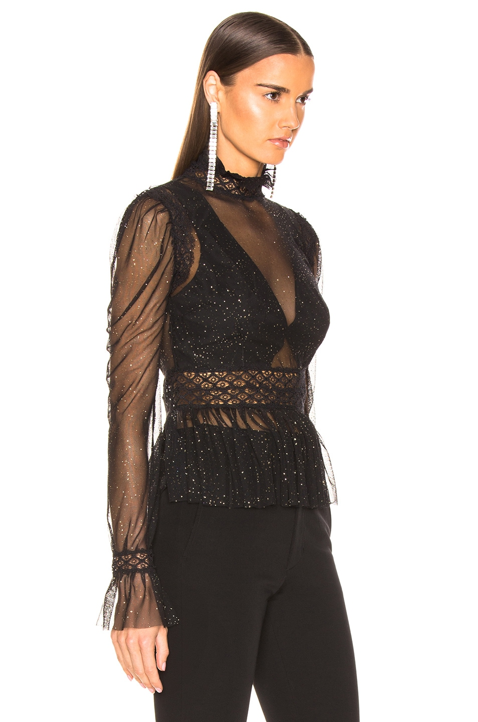 Image 2 of PatBo Night Sheer Mock Neck Top in Black