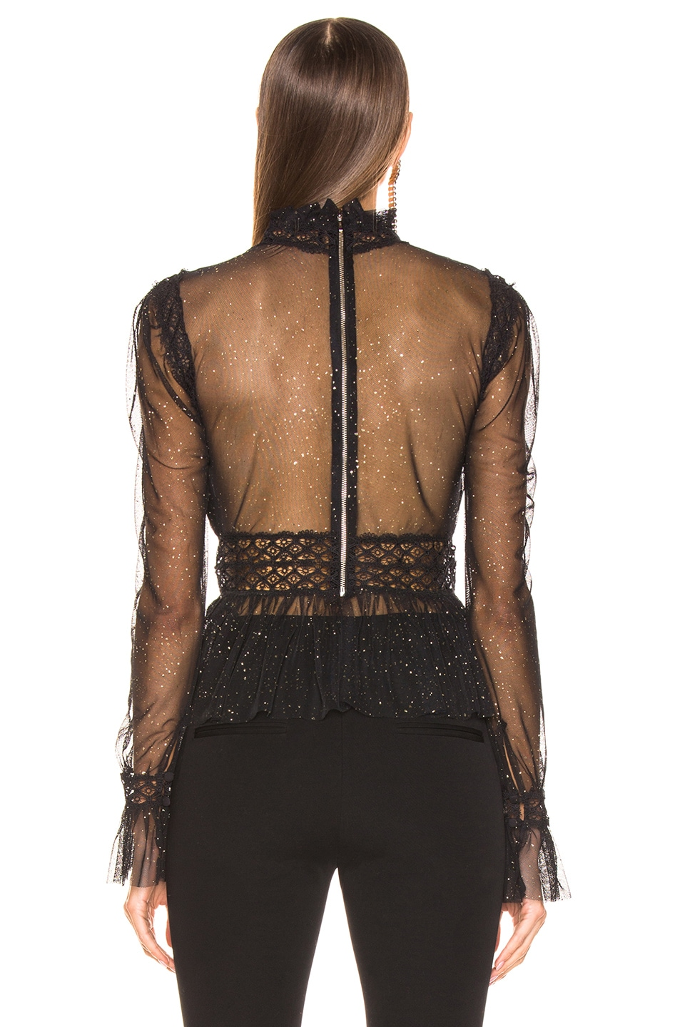 Image 3 of PatBo Night Sheer Mock Neck Top in Black