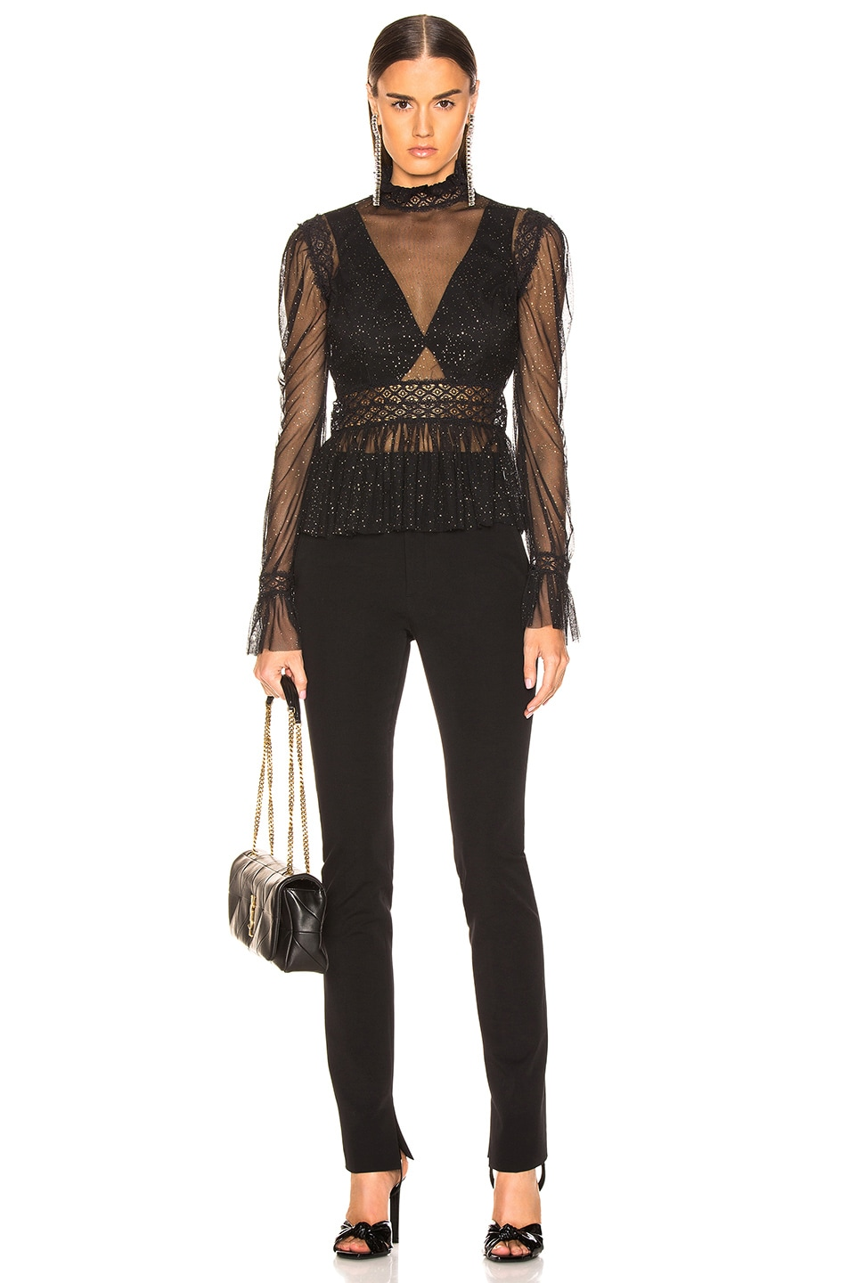 Image 4 of PatBo Night Sheer Mock Neck Top in Black