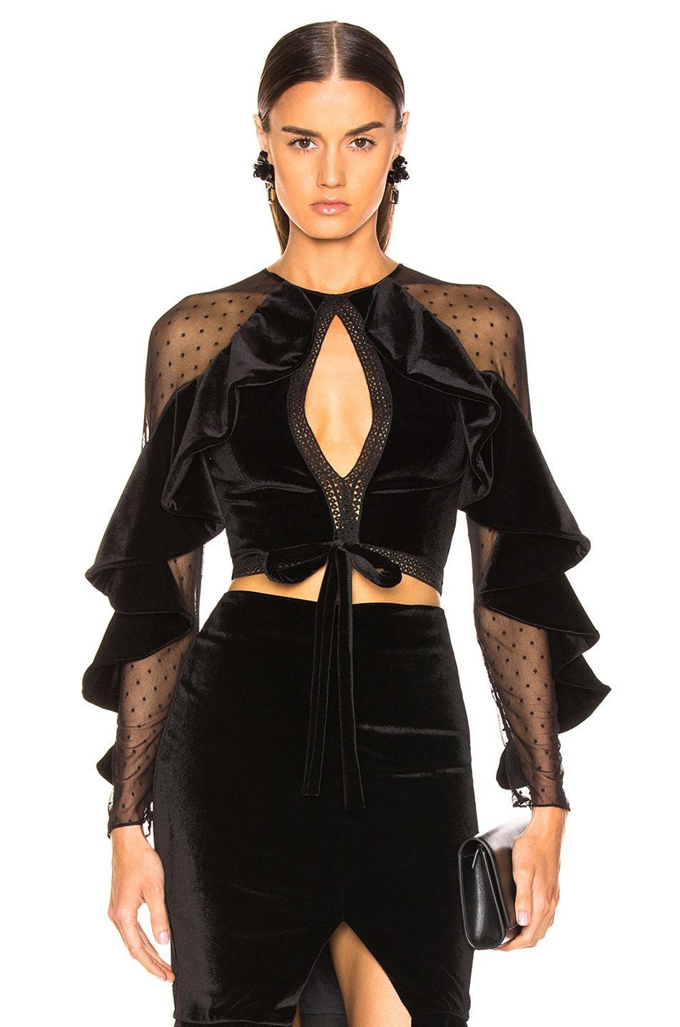 Image 1 of PatBo Velvet Keyhole Cropped Top in Black