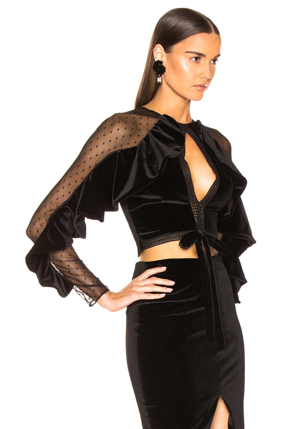 Image 2 of PatBo Velvet Keyhole Cropped Top in Black