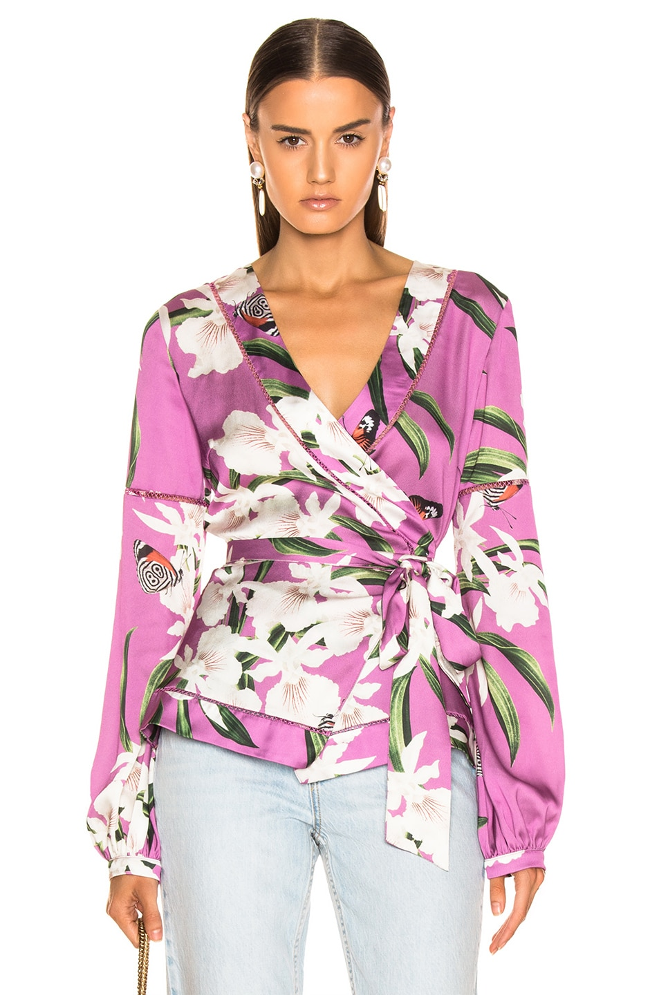 Image 1 of PatBO Orchid Print Wrap Top in Violet