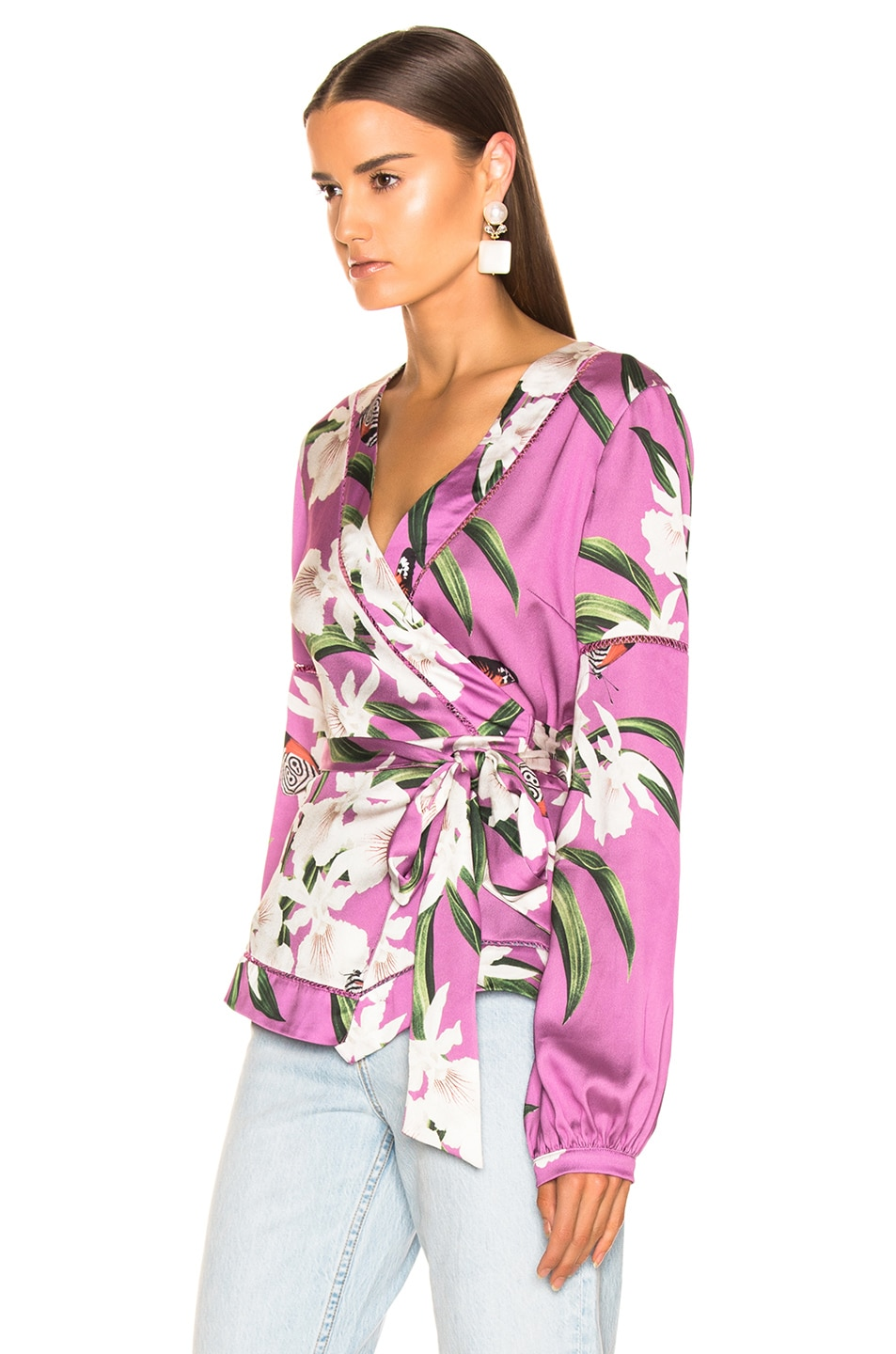 Image 3 of PatBO Orchid Print Wrap Top in Violet