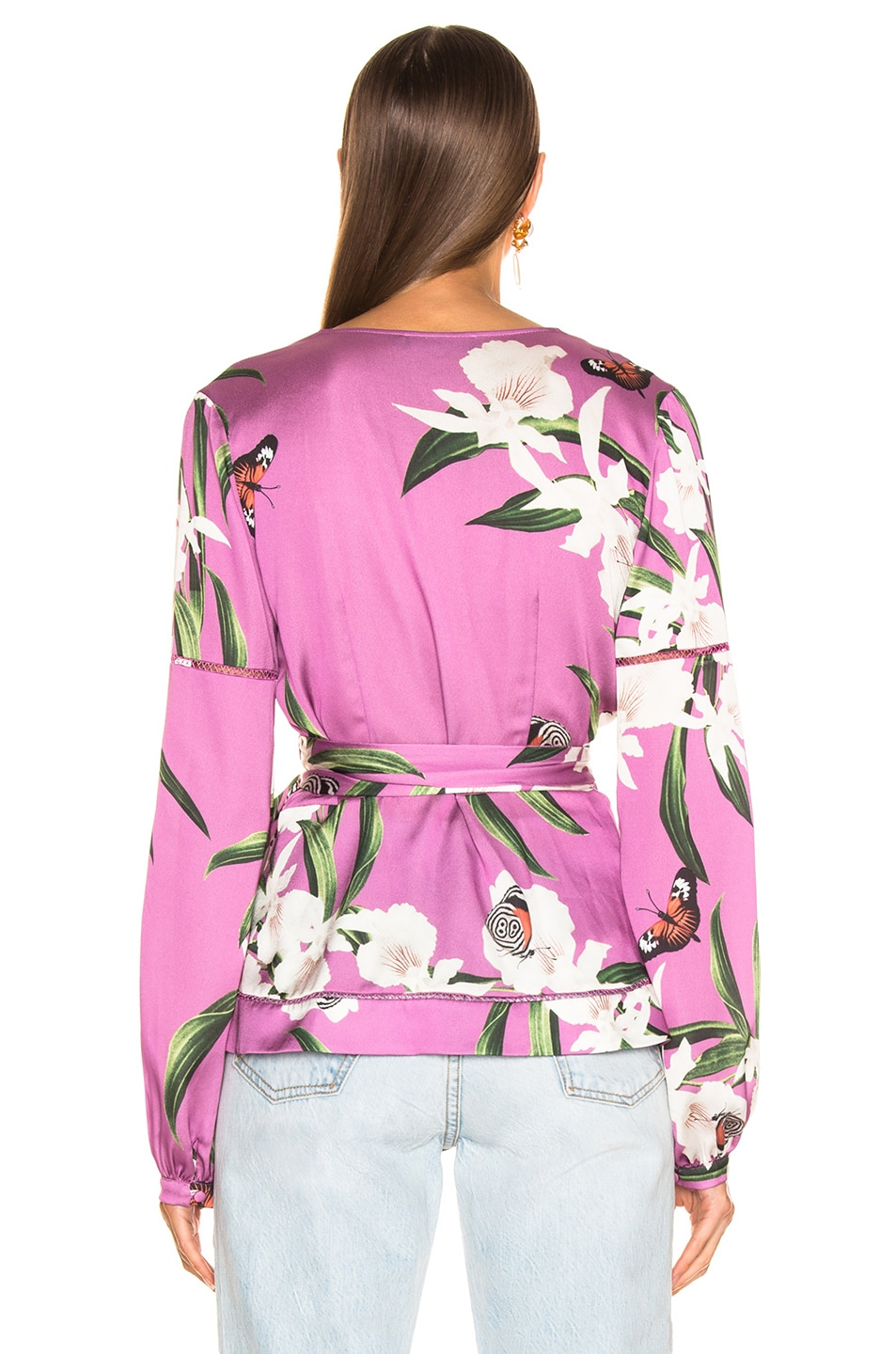 Image 4 of PatBO Orchid Print Wrap Top in Violet