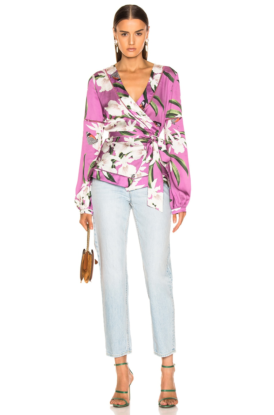 Image 5 of PatBO Orchid Print Wrap Top in Violet